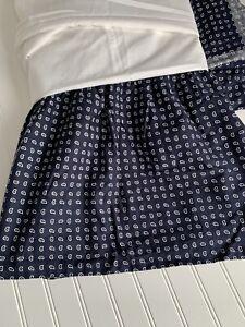 Ralph Lauren Chaps Home Allistair Bedskirt Navy Blue FOULARD Paisley Cal King