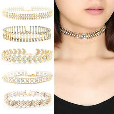 Crystal Pendant Elegant Gold Choker Collar Beads Chain Necklace For Ladies CHI