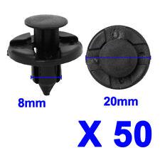 50X Black Plastic Push Rivet Trim Panel Fastener Clips 8mm Dia Hole For Car