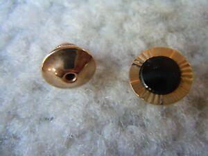 Lamode Karatclad Gold & Black Stone Tie Tack Pin Vintage