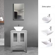 "24"" Gray Bathroom Vanity Cabinet & Ceramic Ceramics Vessel Sink Faucet Modern"
