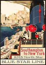"""new york shipping line  vintage art print large satin or canvas  28""""x 20"""""""