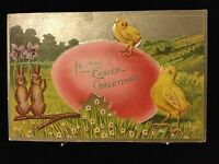 LOVING EASTER GREETINGS Bunny Rabbit Chick Embossed Antique Postcard Ca 1910