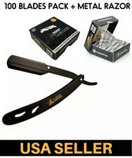 Classic Matte Black Folding Straight Shaving Razor + 100 Derby Premium Blades