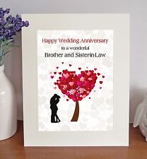 Brother & Sister-in-Law Wedding Anniversary Gift Free-Standing Picture Mount