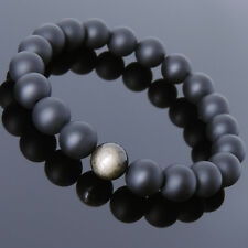 10mm Matte Black Onyx Golden Obsidian Bracelet Mens Women Gemstone DIY-KAREN 713