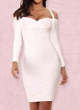 BCBG MaxAzria Bodycon Bandage Dress Long Sleeve Halter Cold Shoulder A122 *XL