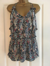 NEXT Blue Floral Strappy Cami Top Blouse Size 16