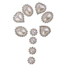 10pcs Pearl Crystal Rhinestone Buttons Flatback Wedding Craft Embellishments