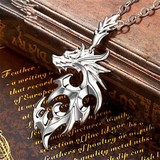 New Silver Stainless Steel Dragon Pendant Men Necklace With Leather Chain Gift