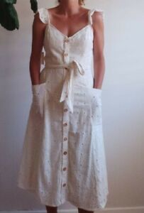 Anthropologie Cotton Broderie Anglaise Button Up Mid Waist Belted Dress New Size