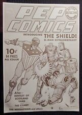 "1970's PEP COMICS #1 Poster VG 4.0 16x22"" Black & White PROMO The Shield RARE"