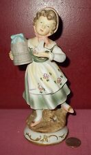 Vintage ARDCO Taiwan Porcelain GIRL with BIRD CAGE BASKET FIGURINE C-2007  *