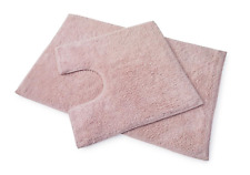 Premier 100% Cotton Bath and Pedestal Mat Set - Blush Pink