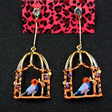 Alloy Betsey Johnson Cute Bird Birdcage Dangle Earrings fashion Wedding Jewelry