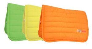HySPEED Neon 100% Cotton Horse Poly Saddle Pad / Numnah Orange,Lime Green,Yellow