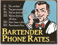 Bartenders phone rates Metal tin sign funny home garage Bar Shop Wall decor new