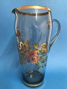 Vintage 1950s Hand Painted Glass Pitcher Gold Pink Roses Lemonade Cocktails 26cm
