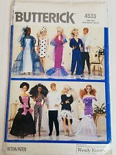 "Butterick 4533 Sewing Pattern Barbie 11 1/2"" Fashion Doll Clothes New Uncut 1989"