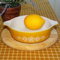 Vintage 1970s Pyrex Butterfly Gold 1 PT Casserole Dish 471 White on Gold USA
