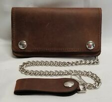 "Brown Leather Trucker Wallet 6"" x 3.5"" With 12"" Chain MADE IN USA"