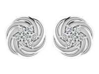 Christmas Gift ! 925 Sterling Silver Round White CZ Star Stud Earrings Jewelry