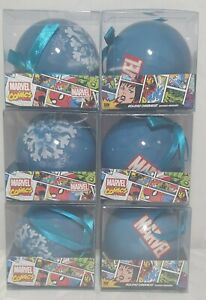 6 x Blue Marvel Comics  Christmas Tree Baubles Decorations - Brand New & Sealed