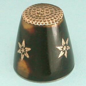Antique Tortoise Thimble w/ Gold Top & Gold Stars * English * Circa 1850
