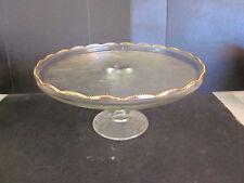Vtg Jeannette Elegant Glass Pedestal Cake Plate Harp & Scroll Pattern Beaded Rim