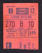 1975 Rolling Stones Eagles Rufus Chaka Khan Concert Ticket Stub MSG NY 6/24