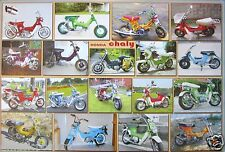 "HONDA MOTORCYCLES POSTER ""18 CHALY MODELS""-JAPANESE SCOOTERS, MOTORBIKES, CYCLES"