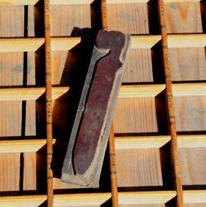 """HUGE """"s"""" blackletter 7.09"""" handcarved woodtype printing block letterpress print"""