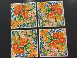 Georges Briard Enamel Metal MCM Set 4 Tile Hippie Floral Wall Trivet Cheese NEW