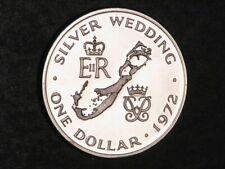 BERMUDA 1972 1 Dollar Silver Wedding Silver Crown Proof