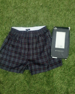 New still boxed BURBERRY  Size L Mens BLUE CHECK Briefs Boxer shorts GENIINE
