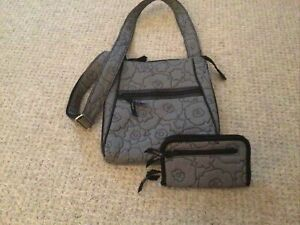 Thirty One Gray Quilted Poppy Floral Crossbody Shoulder Bag and Wallet Organizer