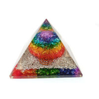 Orgone Pyramid (Seven Chakra Onyx Base With Silver Dust ) With Copper Spiral