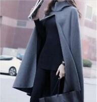 Women's Wool Blend Hooded Poncho Loose Cloak Cape Outerwear Vintage Coats New