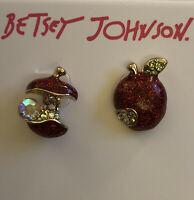 Betsey Johnson Mismatch Apple Stud Earrings Red & Gold With Pave Crystal NWT