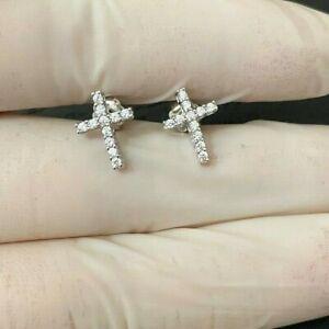 MEN WOMEN 925 STERLING LAB DIAMOND 14K White Gold SIMPLE CROSS STUD EARRING