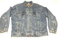 Levi Strauss & Co Men's Blue Plaid Lined Jean Jacket Sz XL