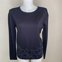 NEW• GERRY WEBER • Navy Handmade Beaded Long Sleeve Top • Size 10 • RRP £75