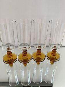 """4 x VINTAGE 5.75"""" LARGE AMBER STEM SCHOONER/SHERRY GLASSES"""