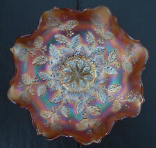 Carnival glass Holly Fenton Northwood Bowl Dish Plate depression artglass art