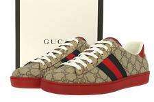 NEW GUCCI ACE GG SUPREME LOW TOP SNEAKERS LOGO LACE-UP CASUAL SHOES 8 G/US 9