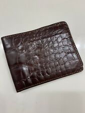 BROOKS BROTHERS AMERICAN ALLIGATOR MENS WALLET BROWN MADE IN ITALY BRAND NEW!!