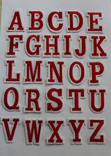 Aufnäher Aufbügler Buchstaben Rot/Weiss ca. 4,5 cm Alphabet ABC Name Initialien