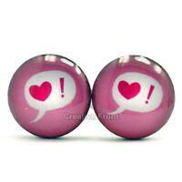 Love Heart ! Bubble Stainless Steel Stud Earrings Pair - Mens Womens Fashion