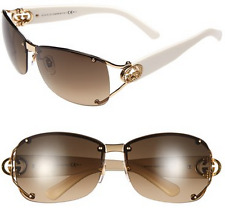GUCCI GG 2820/F/S BQBED White Gold Crystal Logo Brown Gradient Women Sunglasses