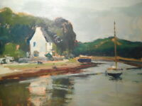 Tableau marine peinture Paul SURTEL paysage breton Bretagne mer rivière bateau